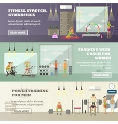 Fitness center horizontal banners set Sport vector image
