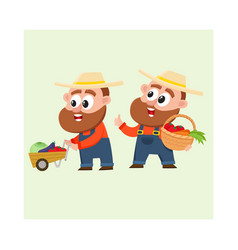 Funny farmers in overalls harvesting vegetables vector