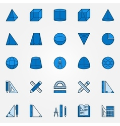 Geometry blue icons vector