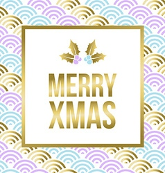 Gold christmas lettering design with mistletoe vector