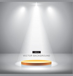 gold stage with spotlight grey background vector image vector image