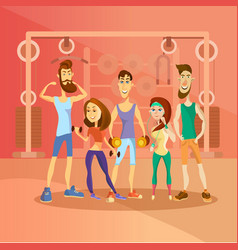 Group of people working out in a gym and dressed vector