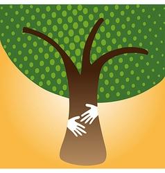 Human hug tree for nature vector