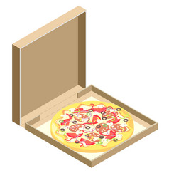 isometric icon of italian pizza vector image vector image