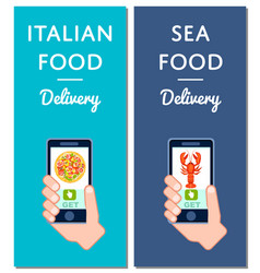Italian pizza and seafood delivery flyers vector