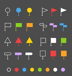 Navigation pins flat design collection vector image