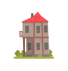 old two storey house with red roof retro vector image vector image