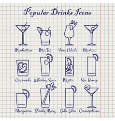 Popular drinks ink icons set vector image vector image