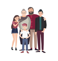 Portrait of happy family smiling grandfather vector