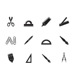 Silhouette school and office tools icons vector image