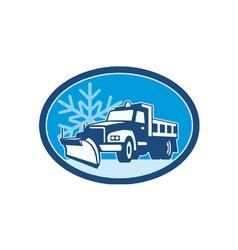 Snow plow truck retro vector