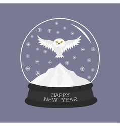 Snowy white owl flying bird big wings yellow eyes vector
