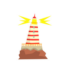 Striped red and white lighthouse cartoon vector