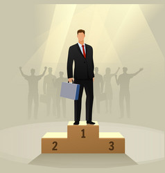 success businessman character standing in a podium vector image