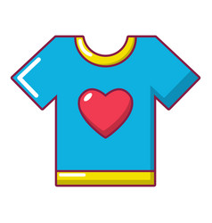 t-shirt heart icon cartoon style vector image