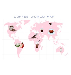 World Map with Coffee Production and Consumption vector image