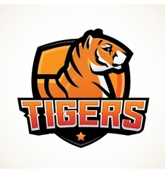 Tiger shield sport mascot template premade vector
