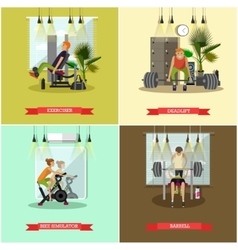 Set of gym posters fitness and sport vector