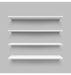 Empty white shop shelf retail shelves 3d store vector image