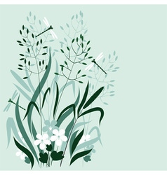 Wild grass and dragonflies vector