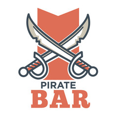 pirate bar flat logo label isolated on white vector image