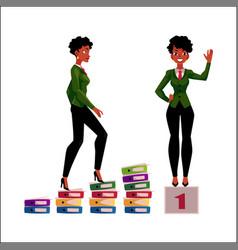 black african american businesswoman climbing vector image