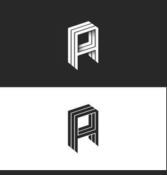 Isometric letter a logo hipster 3d monogram aaa vector