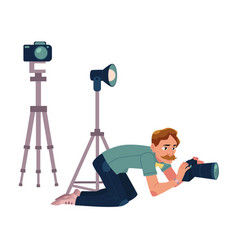 photographer camera man taking pictures shooting vector image