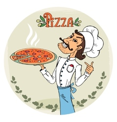 Italian chef with a steaming hot pizza vector