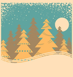 Vintage winter card with snow frame on old poster vector