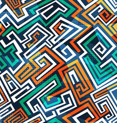 Abstract maze seamless pattern vector