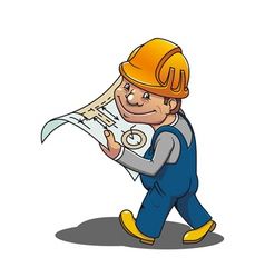 Smiling cartoon worker with scheme for industrial vector