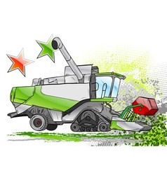 Green harvester on the background vector