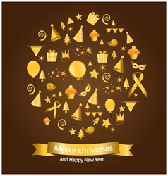 Gold christmas elements vector