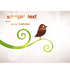 Cute bird on branch background vector