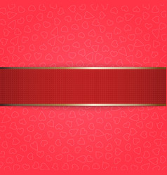 Valentines day red ribbon on pink background vector