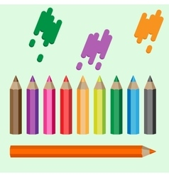 Varicolored pencils set ten crayons in a raw vector