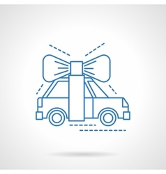 Automobile surprise flat blue line icon vector