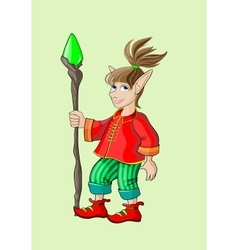 Fairy elf in a red shirt with a stick vector