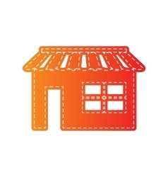 Store sign  orange applique isolated vector