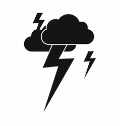Cloud and lightning icon simple style vector