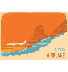 Aircraft and sky retro poster background on old vector