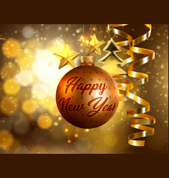 bronze bauble new year card realistic vector image vector image
