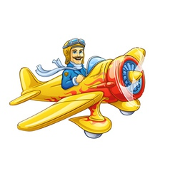 Cartoon plane with pilot vector