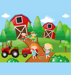 Children pick up fruit in the farm vector