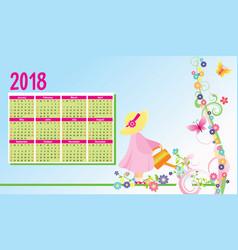Color flowers 2018 year calendar vector