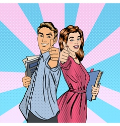 Couple of Students Man and Woman Gesturing Great vector image vector image