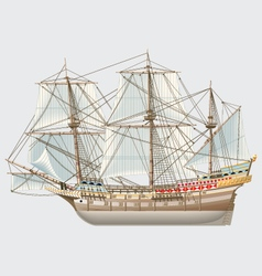 detailed vintage ship galeon vector image vector image