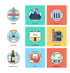 Flat color line design concepts icons 13 vector