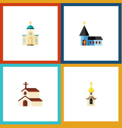 Flat icon building set of religious religion vector